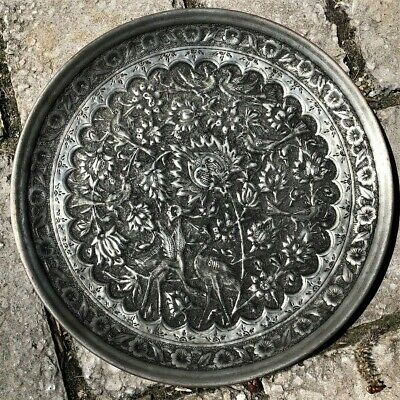 Antique Qajar Engraved Copper Silver Tone Persian Middle East Islamic Tray Nr