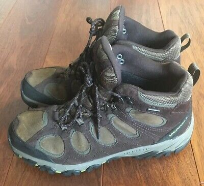 7cf6fb7c67654 MERRELL Mens Espresso/Moss Hiking Winter Boots Sz 11 Waterproof Air Cushion  EUC