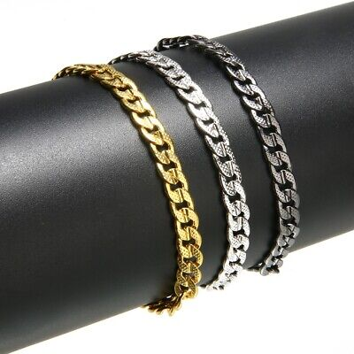 Men's Stainless Steel Super Figaro Curb Cuban Flat Link Chain Bracelet Jewelry