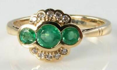 Dainty 9K 9Ct Gold Colombian Emerald Diamond Art Deco Ins Ring Free Resize