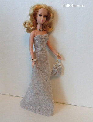 Francie Barbie Clothes Handmade GOWN + beaded PURSE +JEWELRY Fashion NO DOLL d4e