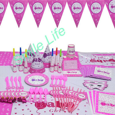 Pink Girls Baby Shower Party Tableware Supplies Decoration Plates Tablecloth Cup