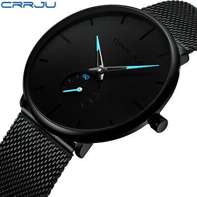 Mens Watches Top Brand Luxury Quartz Casual Slim Mesh Steel Waterproof Sport