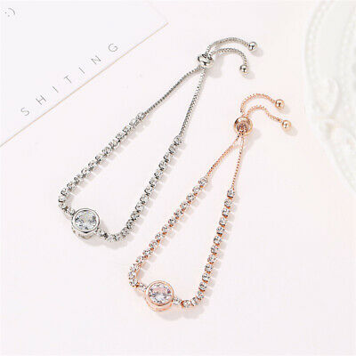 Women Rose Cubic Zirconia Bracelet Gold Color Bangles Charm Jewelry Fashion Gift