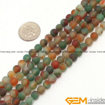 """Natural Frost Gemstone Red Green Agate Loose Beads  for Jewelry Spacer Agate 15"""""""