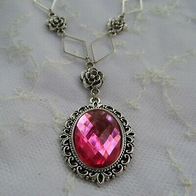 Victorian Style- Diamond Rose - Hot Pink Acrylic Silver Plated Pendant Necklace
