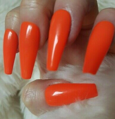 Orange Tapered XLong Coffin False Nails, Glossy. 20 Hand Painted. Press on.