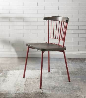 Side Chair in Red and Brown Oak - Set of 2 [ID 3872242]
