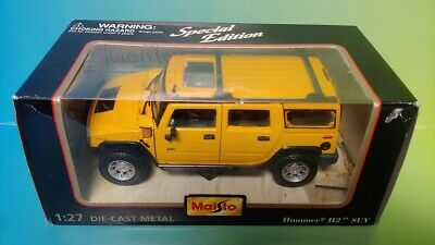 Maisto Special Edition HUMMER H2 YELLOW SUV 1:27 Scale die cast - Brand New Rare