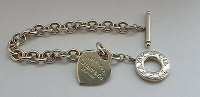 Ladies Authentic Tiffany & Co Solid Silver British Hallmarked Bracelet & Pouch