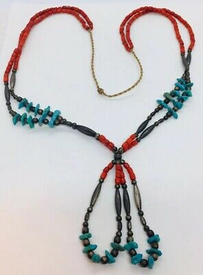 Navajo Native American Sterling Silver Blue Turquoise Red Coral Beaded Necklace