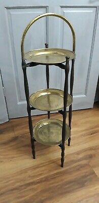Vintage  3 Tier Folding Wooden  Stand With Brass Trays.