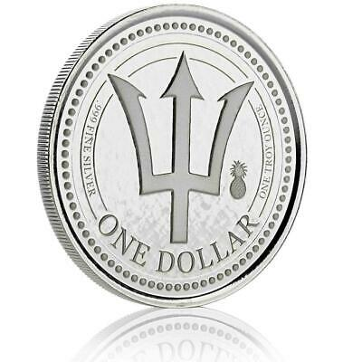 2018 Pineapple Privy 1 oz Barbados Trident .999 Silver Coin BU Proof-like #A437