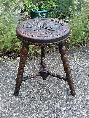 Antique Quality Oak Carved  Bobbin Leg Turned Stool Country Rustic Furniture