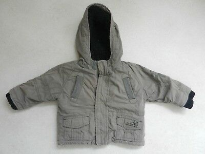 M&S Boys Brown Warm Winter Coat Lined Hood 12-18 months Lovely Quality Jacket