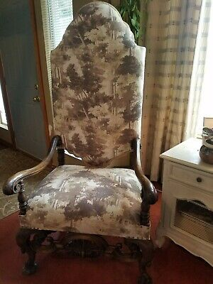 Antique Large Throne Chair Restored with New thick Linen Tapestry by Barrow fab