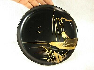 ANTIQUE JAPANESE EDO ERA (c. 1850) LACQUER KASHIZARA APPETIZER DISH MAKIE HERON