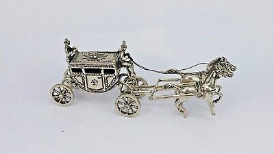 novelty 800 silver miniature regency coach & horses with driver & footman
