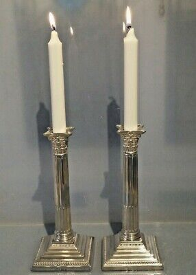 1924 Pair of silver candlesticks 9 inches high by Ellis Jacob Greenburg  1300 gr