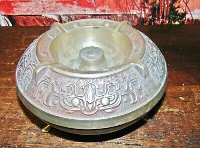 Antique Arts+Crafts Craftsman CIgar,Cigarette,Pipe BIG Ashtray Bowl Tobacco WOW