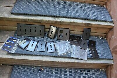 Vintage LOT Ribbed Switch Plate Cover Light Switch Brown Deco Bakelite Home