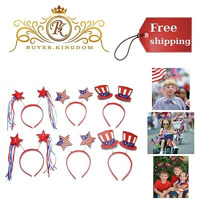 4th Of July Party Favors Patriotic Head Boppers Headband Star Uncle Sam Hat 6pcs