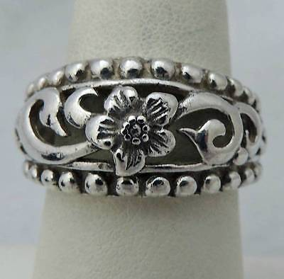 ATTRACTIVE Sterling Silver Estate PANSY FLOWER OPEN SCROLL WORK BAND RING size 8