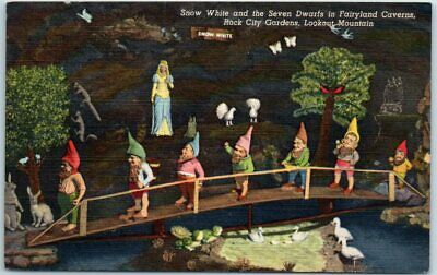 "1940s ROCK CITY GARDENS Postcard ""Snow White & The 7 Dwarves Fairyland Caverns"""