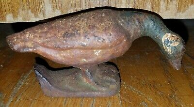 Vintage Antique Cast Iron Canadian Goose Duck Decoy Door Stop w/ Original Paint