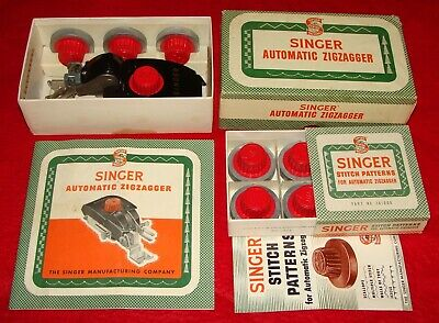 Vintage Boxed 1954 Singer Sewing Machine Automatic Zigzagger + Stitch Patterns