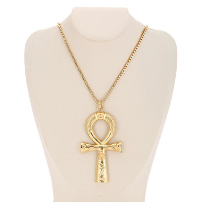 Large Gold Tone Egyptian Ankh Hip Hop Cross Pendant Necklace With 3mm Box Chain