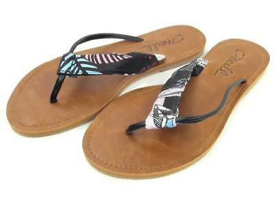 O/'NEILL VENICE LEATHER PLAITED BLACK FASHION LEATHER FLIP FLOPS SANDALS 3-8