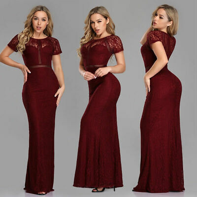 Ever-Pretty US Bodycon Club Party Dress Burgundy Long Cocktail Gowns Lace 07752