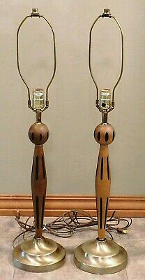 Pair of Vintage 60s Mid Century Modern Brass & Wood Tall Table Lamps
