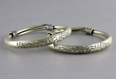 Collectable China Antique Tibet Silver Hand Carve Lotus A Pair Delicate Bracelet