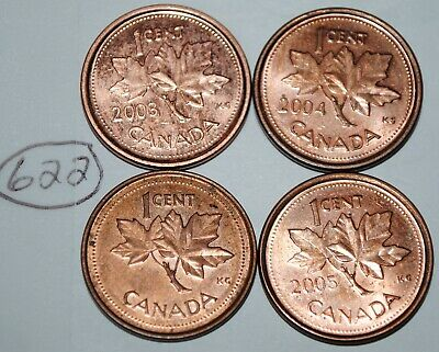 2002 P 2003 P 2004 P 2005 P 1 Cent Canada Steel Canadian Penny Magnetic Lot #622