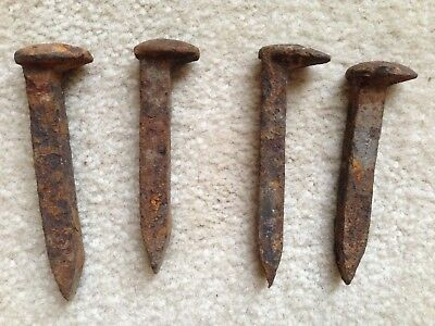 "Railroad Ties old rusted Nail Spikes 2-4.1/2""  x 1/2""   2- 4 3/4""  x 1/2"" Craft"