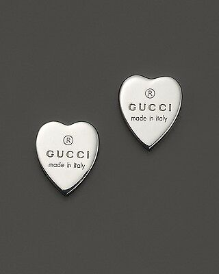 2dc007e2f GUCCI STERLING SILVER TRADEMARK Signed HEART Drop Earrings NEW ...