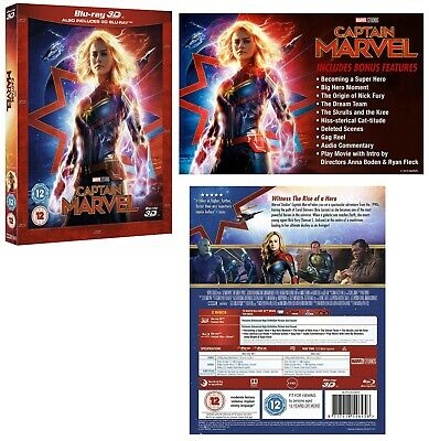 CAPTAIN MARVEL (2019): Brie Larson, Action, Adventure, Sci-Fi  RgFree 3D+BLU-RAY