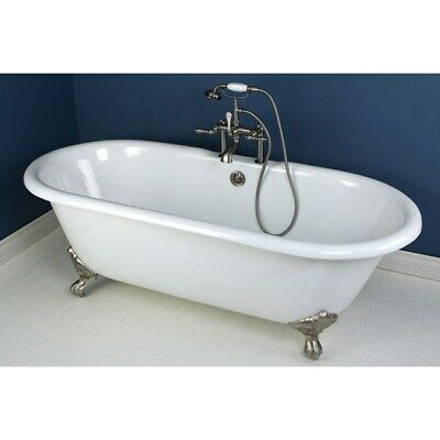 """66"""" Claw Foot Bathtub with Satin Nickel Tub Faucet and Hardware Package CTP17"""