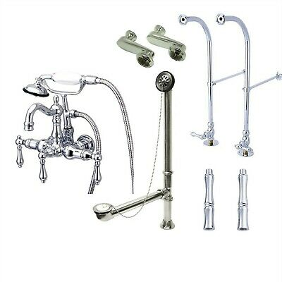 Freestanding Chrome Lever Clawfoot Tub Filler Faucet with Hand Shower 1008T1FSP