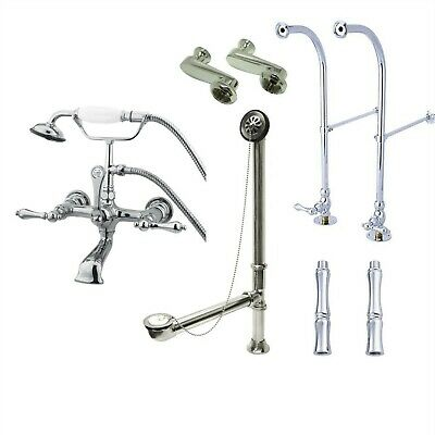 Floor Mount Chrome Lever Clawfoot Tub Filler Faucet with Hand Shower 552T1FSP