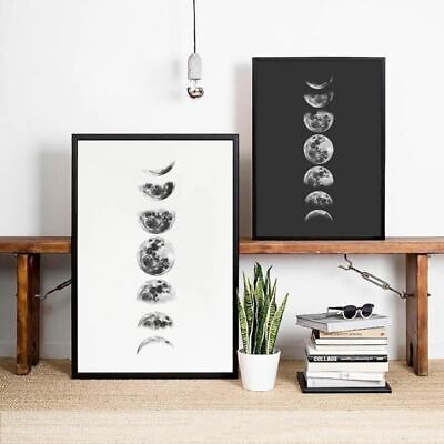 Moon Phases Wall Art Canvas Poster Print , Black and White Moon Phases Poster Pa