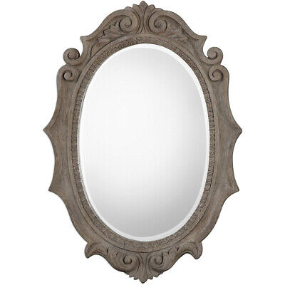Uttermost 09239 Serafina Oval 43 X 30 inch Weathered Old Wood Wall Mirror