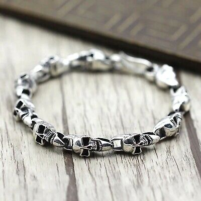 Solid 925 Sterling Silver Hallmarked Mens Heavy Skull Chain Clasp Cuff Bracelet
