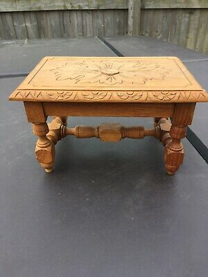 Antique Vintage Carved Oak Stool