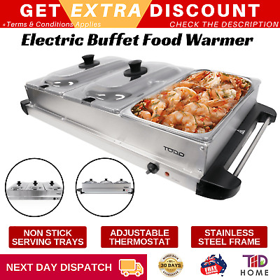 Electric Buffet Server Food Warmer 400W Non-Stick Serving Tray Stainless Steel