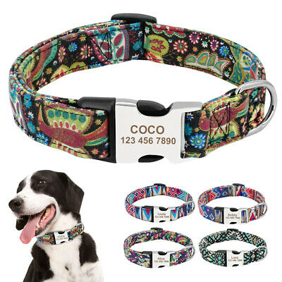 Nylon Dog Collar Personalised Engraved ID Name Tags Buckle Colourful Adjustable