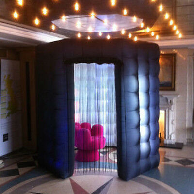 Inflatable LED Light Photo Booth Air Tent Wedding Party Christmas Cylinder 2.5M