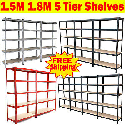 5 Tier Metal Shelving Industrial Boltless Racking Garage Heavy Duty Shelf Bay